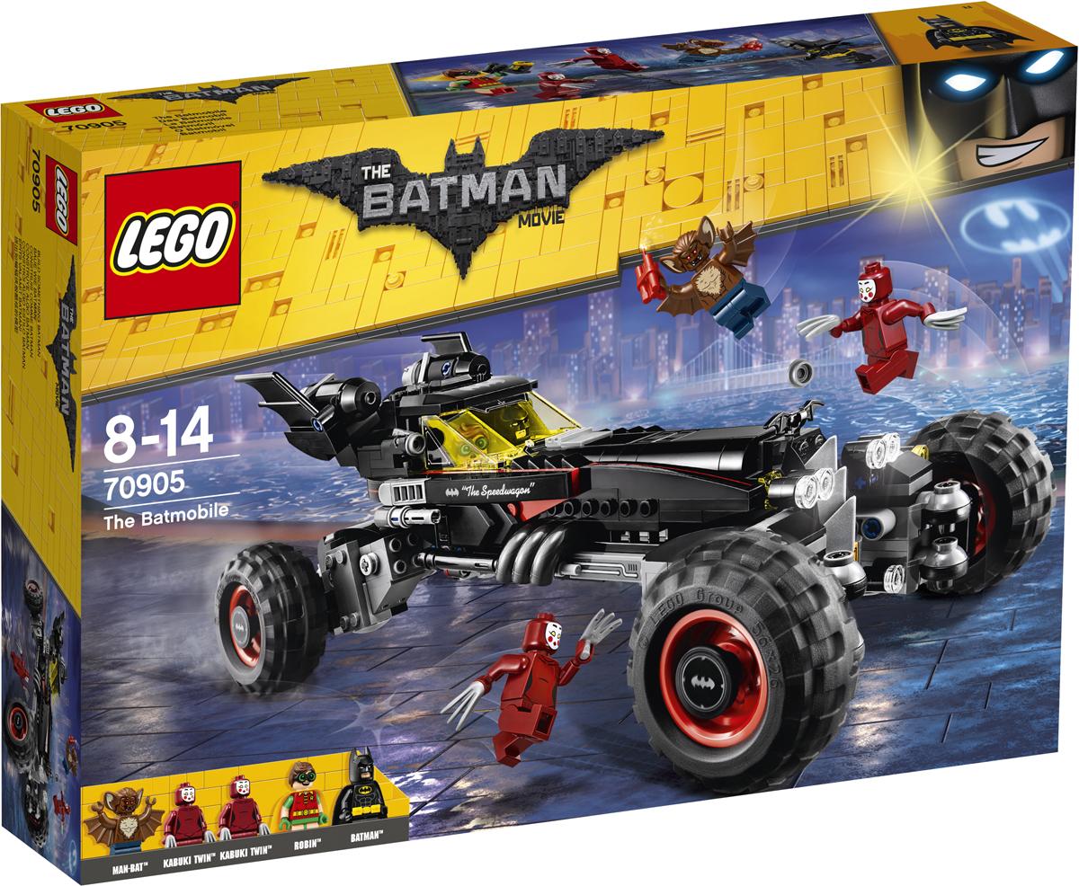 LEGO Batman Movie Конструктор Бэтмобиль 7090570905Вместе с Бэтменом и Робином садитесь в Бэтмобиль и переводите колеса в гоночный режим, чтобы за секунду умчаться вдаль. Чтобы преодолеть любое препятствие, достаточно установить режим монстрогрузовика. Когда в твое поле зрения попадают суперзлодеи, стреляй из шипометов. Потом резко затормози, откинь крышу двойной кабины и отправляйся сражаться с врагами врукопашную. Уклоняйся от ударов мощных когтей близняшек Кабуки и динамитных шашек, которые бросает Мэн-бэт, и поймай всех суперзлодеев. Разъезжай по улицам Готем-сити и празднуй победу, стреляя из пушки, а потом переведи автомобиль в режим параллельной парковки, чтобы парковаться даже в ограниченном пространстве.