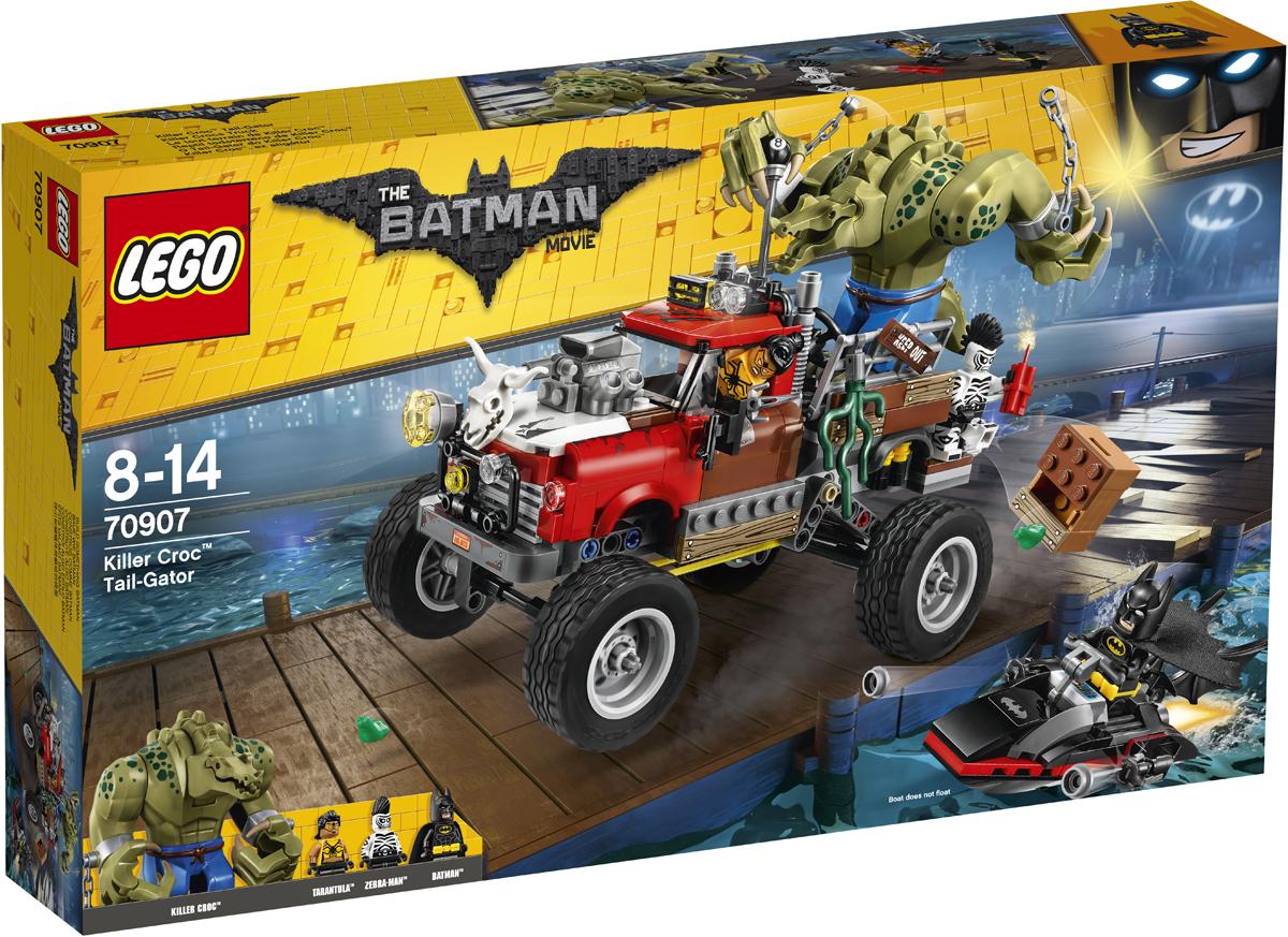 LEGO Batman Movie Конструктор Хвостовоз Убийцы Крока 7090770907Убийца Крок, Человек-Зебра и Тарантула пытаются сбежать из Готем-сити через городскую гавань. На максимальной скорости отправляйся к докам на своем бэтскутере и стреляй из шипометов. Объезжай ящики с бомбами, которые сбрасывают с пикапа, и уклоняйся от ударов сай Тарантулы. Догони преступников и с помощью бэтаранга сразись с ними на суше. Отправь злодеев в тюрьму, прежде чем они совершат новые преступления.