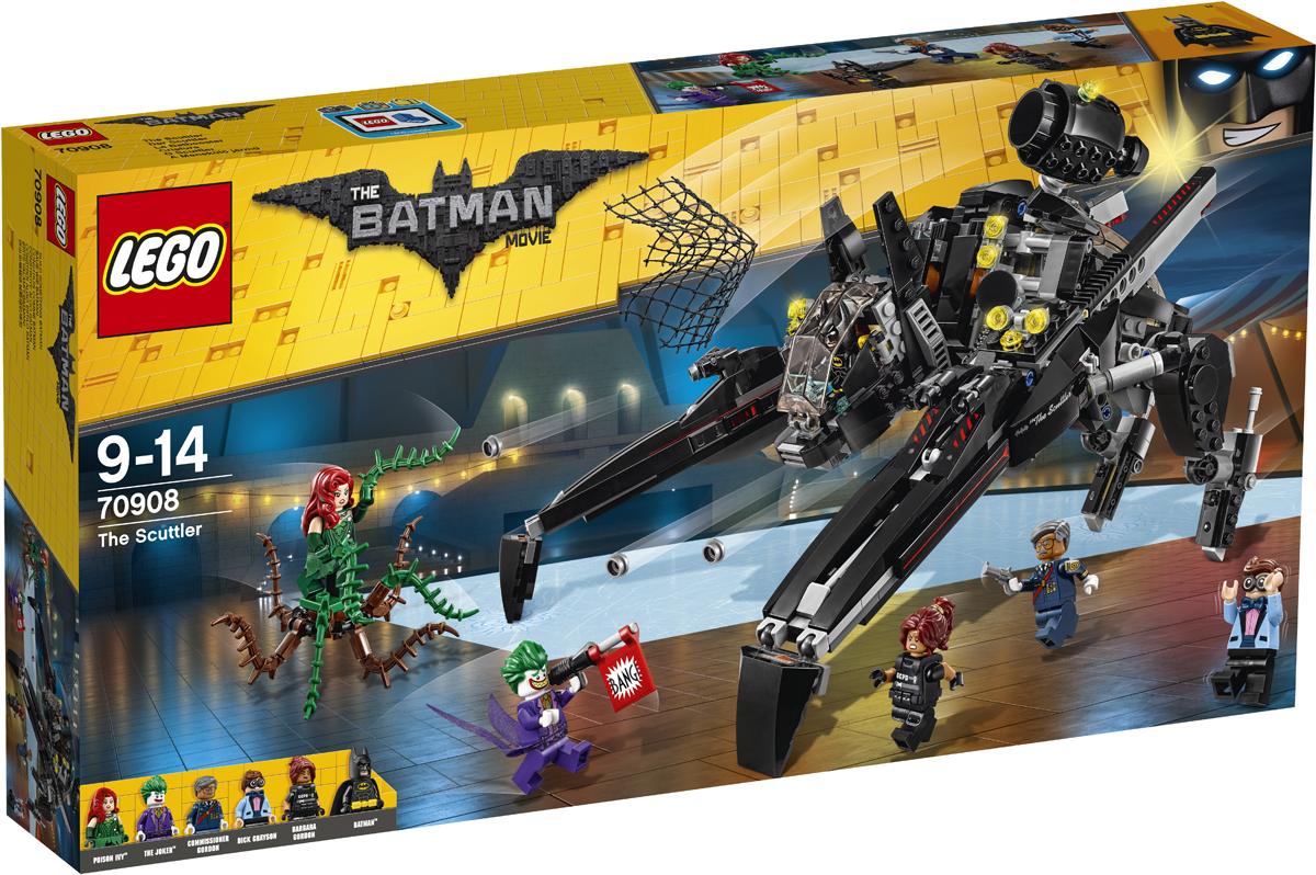 LEGO Batman Movie Конструктор Скатлер 7090870908Чрезвычайная ситуация! Джокер и Ядовитый плющ с ее ручным монстром ворвались на вечеринку по случаю ухода на пенсию комиссара Гордона и взяли гостей в заложники. Вместе с Бэтменом прыгай в кабину удивительного летательного аппарата — «Птерозавра» — и спеши на выручку. Стреляй по злодеям из шипометов, а потом надень спрятанный реактивный ранец и отправляйся сражаться с Джокером. Освободи комиссара Гордона, Барбару Гордон и Дика Грейсона и поймай всех суперзлодеев в сеть, которой стреляет один из шутеров «Птерозавра».