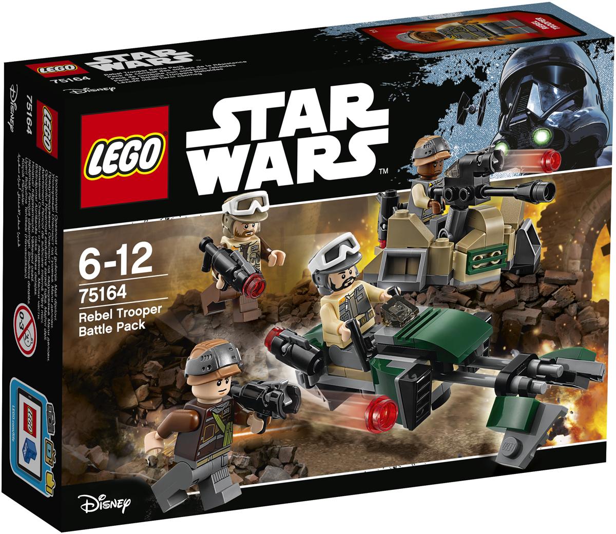 LEGO Star Wars Конструктор Боевой набор Повстанцев 7516475164Запрыгивайте на скоростной спидер Повстанцев и отправляйтесь на разведку: Империя снова что-то замышляет. Когда обнаружите имперские войска, спрячьтесь в траншее, зарядите пушку и помогите Повстанцам сокрушить врага на поле боя. Набор включает в себя 120 разноцветных элементов и четыре минифигурки. Конструктор - это один из самых увлекательных и веселых способов времяпрепровождения. Ребенок сможет часами играть с конструктором, придумывая различные ситуации и истории.