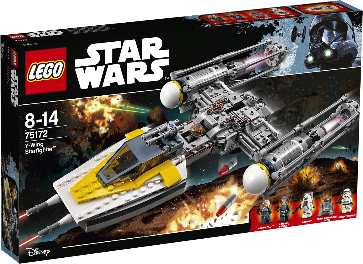 LEGO Star Wars Конструктор Звездный истребитель типа Y 7517275172Когда Повстанцам нужен звездолёт для сложного задания, они отправляют истребитель типа Y. Переместите зарядное устройство в нужное положение и поднимите боеприпасы на борт. Потом разместите пилота в кабине истребителя, уберите посадочное оборудование и взмывайте в небо. Достигнув цели, стреляйте из шутеров и поворачивайте зубчатое колесо, чтобы открыть люк и сбросить бомбы. Набор включает в себя 690 разноцветных элементов, пять минифигурок - пилот «Y-крыла», Адмирал Раддус, наёмник гайгоранец Морофф, астродроид повстанцев и штурмовик имперских войск, оружие – бластерный пистолеты, 4 ракеты для шутеров, 4 тяжелые бомбы. Конструктор - это один из самых увлекательных и веселых способов времяпрепровождения. Ребенок сможет часами играть с конструктором, придумывая различные ситуации и истории.