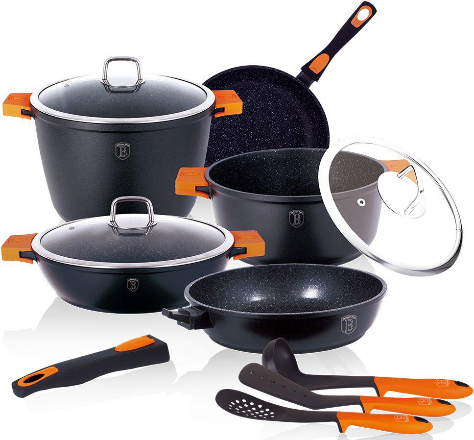 Набор посуды Berlinger Haus Granit Diamond Line, цвет: черный, оранжевый, 11 предметов. 1117-ВН1117-ВННабор посуды 11 предметов, кастрюли с крышкой 2шт.: 5,8л, 6,8л, сотейник 3,1л, сковороды 2шт: 24х4,8см, 28х6см, 3 предметаедм. кух принадл., литой алюминий, 3 слоя мраморного покрытия, толщина стенок 0,5 см, съемные силиконовые ручки, индукционное дно, цвет: черный/оранжевый, упаковка: коробка