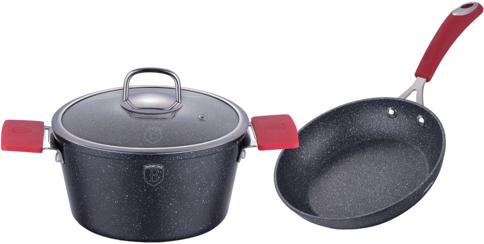 """Набор посуды Berlinger Haus """"Stone Touch Line"""", с мраморным покрытием, цвет: черный, красный, 3 предмета. 1178-ВН"""