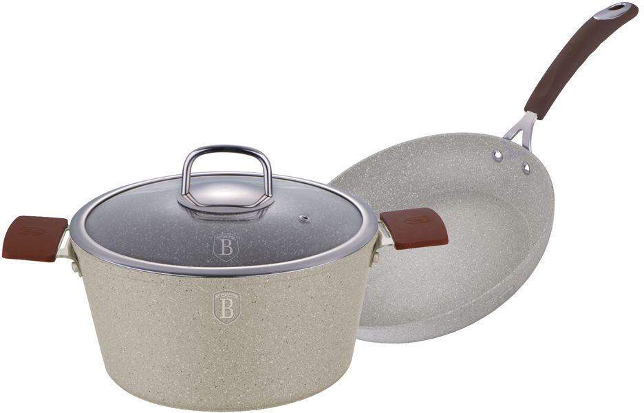 """Набор посуды Berlinger Haus """"Stone Touch Line"""", с мраморным покрытием, цвет: бежевый, коричневый, 3 предмета. 1188-ВН"""