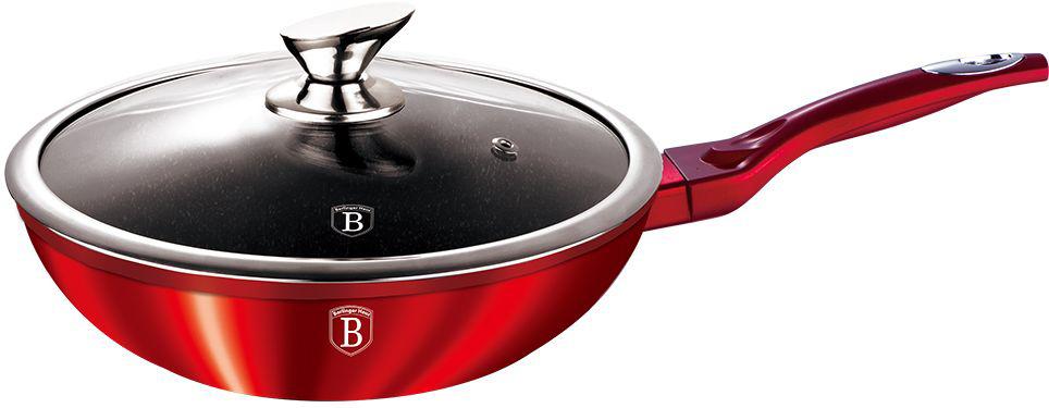 Вок Berlinger Haus Metallic Line, цвет: красный, с крышкой, 30 см. 1266-ВН1266-ВНСковорода ВОК со стеклянной крышкой 30см, кованый алюминий, толщина стенок 0,5 см, 3 слоя мраморного покрытия эргономичная ручка soft touch, индукционное дно, цвет: красный, упаковка: коробка