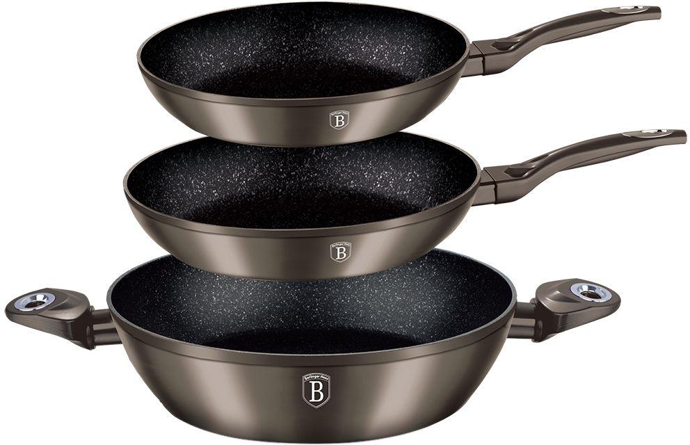 """Набор посуды Berlinger Haus """"Metallic Line"""", с мраморным покрытием, цвет: карбон, 3 предмета 1275-ВН"""