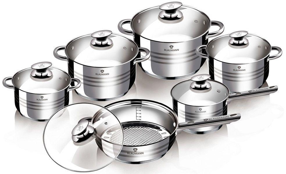 Набор посуды Blaumann Gourmet Line, 12 предметов. 3135-ВL3135-ВLНабор посуды 12 пр, материал: нержавеющая сталь Включают в себя: Кастрюля с крышкой 24x14,5 см, 6,5л Кастрюля с крышкой 20х12,5 см, 3,9л Кастрюля с крышкой 18x11,5 см, 2,9л Кастрюля с крышкой 16x10,5 см ,2,1л Ковш с крышкой 16x10,5 см, 2,1л Сковорода с крышкой 24х7,5 см Упаковка: коробка