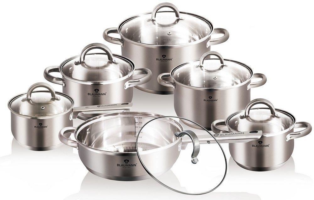 Набор посуды Blaumann Gourmet Line, 12 предметов. 3152-BL3152-BLНабор посуды 12 пр. Материал: нержавеющая сталь, пятислойное дно, матовая поверхность Включают в себя: Кастрюля с крышкой 24x14,5 см, 6,5л Кастрюля с крышкой 20х12,5 см, 3,9л Кастрюля с крышкой 18x11,5 см, 2,5л Кастрюля с крышкой 16x10,5 см, 2,1л Ковш с крышкой 16x10,5 см, 2,1л Сковорода 24х7,5 см, упаковка: коробка
