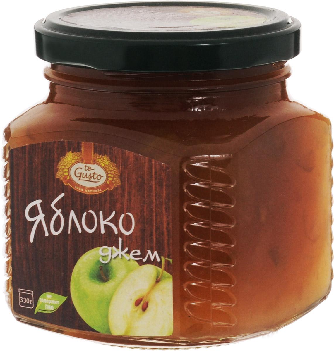 te Gusto Джем из яблок, 330 г4657155301283Ароматный джем  te Gusto сварен из яблок, имеет желеобразную консистенцию с крупными кусочками фруктов. Для приготовления используются только свежие, тщательно отобранные плоды, созревшие в экологически чистых местах. Продукт не содержит ГМО. Полезные элементы, которыми богат яблочный джем - это калий и пектин. Калий полезен для мочевыводящей системы и сердца, а пектин нормализует уровень холестерина в организме и способствует выводу вредных веществ.