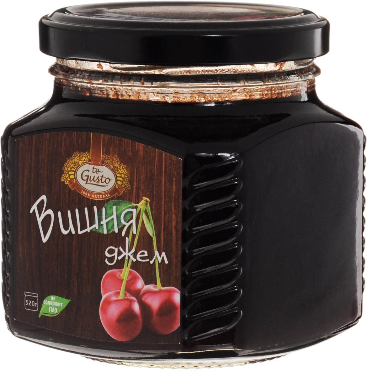 te Gusto Джем из вишни, 320 г4657155301399Ароматный джем te Gusto сварен из вишни, имеет желеобразную консистенцию с крупными кусочками фруктов. Для приготовления используются только свежие, тщательно отобранные плоды, созревшие в экологически чистых местах. Вишня благотворно воздействует на общее состояние организма, укрепляет иммунитет, стимулирует обменные процессы и сводит к минимуму риск развития онкологических заболеваний. Кроме того, джем обладает способностью уничтожать вредоносные бактерии и помогает при простудных заболеваниях, оказывая активное отхаркивающее действие. Пектины понижают уровень холестерина, улучшают пищеварение и нормализуют перистальтику кишечника.