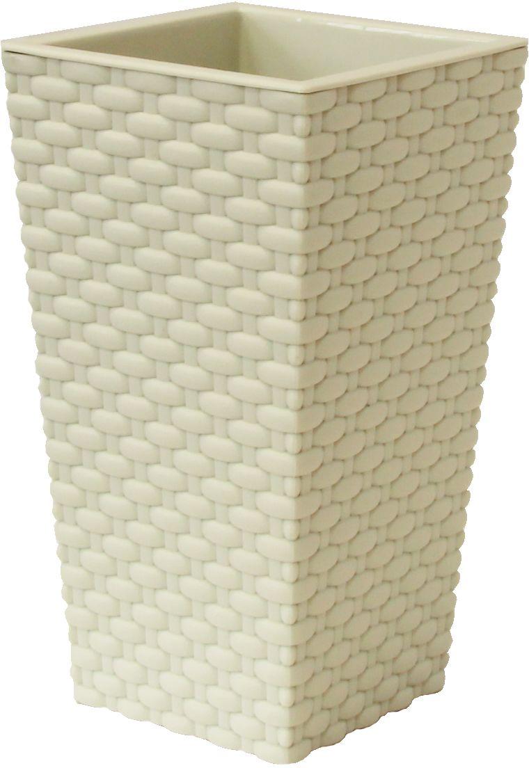 Кашпо Idea Ротанг, цвет: белый, 19,8 х 19,8 х 36 смМ 3086