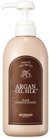 Skinfood Argan Oil Silk Кондиционер с аргановым маслом, 500 млУТ-00000274Восстанавливающий кондиционер для волос на основе арганового масла надежно защищает волосы от пересыхания, обеспечивая глубокое питание и увлажнение. Кондиционер раскрывает природный потенциал волос, обеспечивает сияние и здоровый ухоженный вид, они становятся менее пушистыми, более послушными, блестящими и шелковистыми. Содержит: экстракт и масло арганы, гидрализованный кератин и шелк, экстракт зеленого чая, керамиды и пантенол.