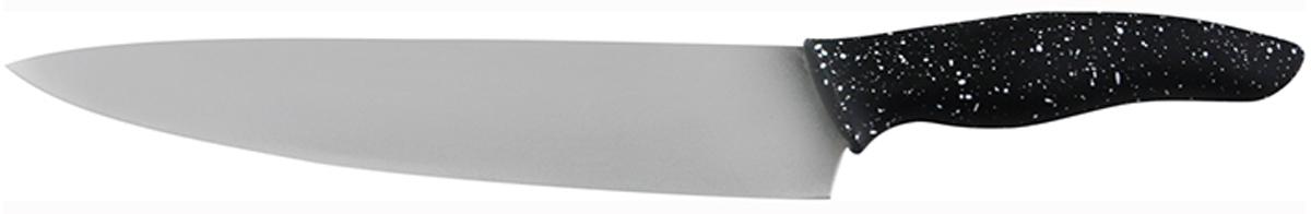 Нож поварской Marta Chefs, длина лезвия 20 смMT-2867Поварской нож Marta Chefs применяется для нарезки, шинковки, измельчения любых продуктов. Выполнен из высококачественной пищевой нержавеющей стали и керамическим покрытием. Нож имеет гладкое острозаточенное лезвие, а также стильное исполнение пластиковой ручки удобной формы, обеспечивающей плотный контакт с ладонью, со специальным покрытием, предотвращающим скольжение в руке. Ножи из нержавеющей стали имеют самый длительный срок службы, отлично сохраняют эксплуатационные свойства и внешний вид. Высококачественная пищевая нержавеющая сталь не имеет запаха и сохраняет вкус и аромат продуктов натуральными, а экологически чистое антибактериальное гипоаллергенное керамическое покрытие устойчиво к коррозии, износу и обеспечивает длительное сохранение качества режущей кромки ножа без необходимости его дополнительной заточки. Нож можно мыть в посудомоечной машине. Толщина лезвия: 2 мм. Общая длина ножа: 31,8 см.