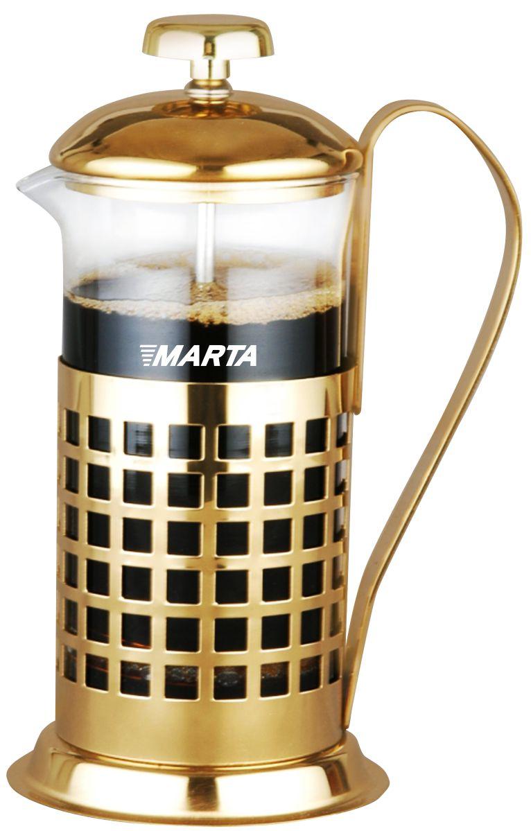 Кофемейкер-френч-пресс Marta, 350 мл. MT-3757MT-3757350мл нержавеющая сталь прозрачное жаропрочное стекло съемный фильтр