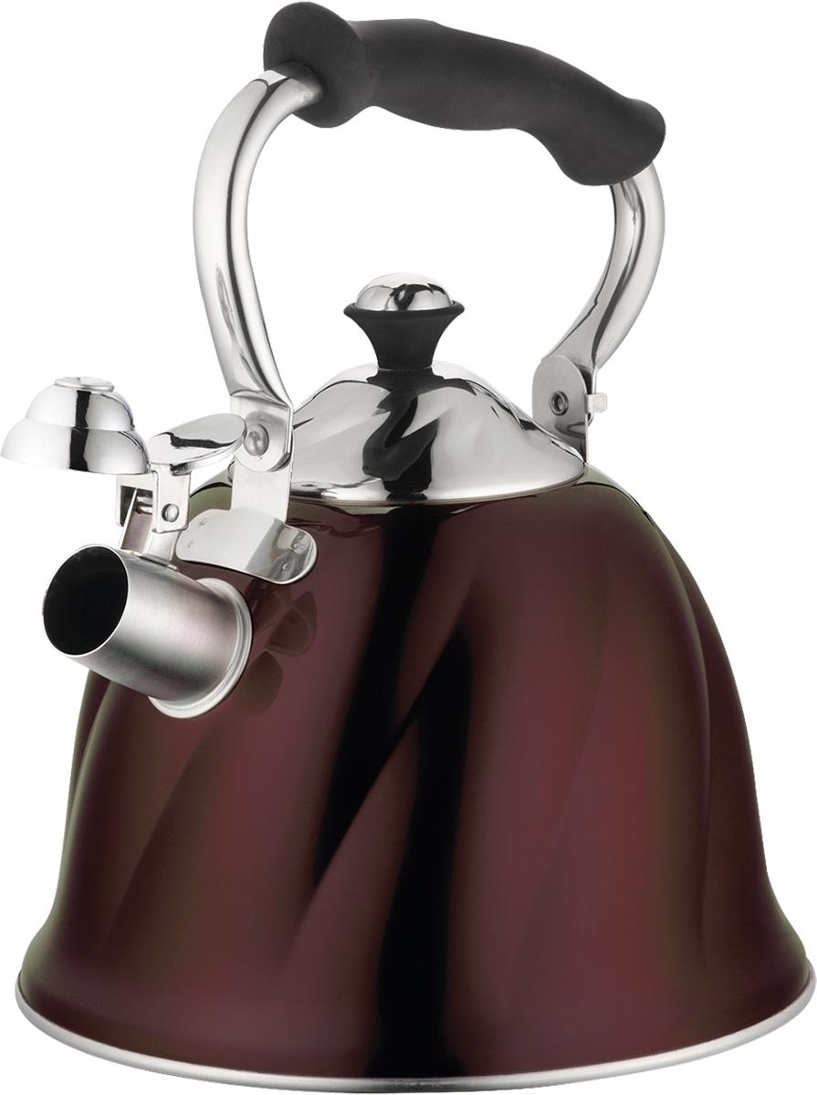 Чайник Marta, со свистком, цвет: шоколад, 3 л. MT-3045MT-3045 шоколадЧайник Marta выполнен из высококачественной нержавеющей стали и оснащен ненагревающейся складной ручкой с силиконовым покрытием. Теплоемкое трехслойное капсульное дно обеспечивает быстрый нагрев чайника и равномерно распределяет тепло по его корпусу. Кипячение воды занимает меньше времени, а вода дольше остается горячей. Свисток на носике чайника - привычный элемент комфорта и безопасности. Своевременный сигнал о готовности кипятка сэкономит время и электроэнергию, вода никогда не выкипит полностью, а чайник прослужит очень долго. Оригинальный механизм поднятия свистка добавляет чайнику индивидуальности - при поднятии чайника за ручку свисток автоматически открывает носик для удобства наливания кипятка в чашку. Чайник подходит для всех видов плит, кроме индукционных.