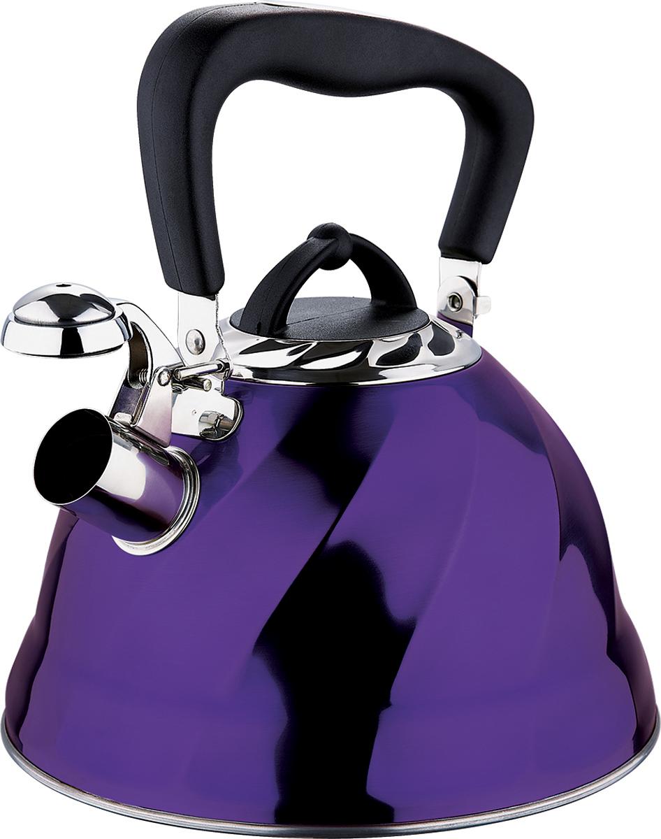 Чайник Marta, со свистком, цвет: фиолетовый, 3 л. MT-3043MT-3043 фиолетовыйЧайник Marta выполнен из высококачественной нержавеющей стали и оснащен ненагревающейся ручкой с силиконовым покрытием. Теплоемкое капсульное дно обеспечивает быстрый нагрев чайника и равномерно распределяет тепло по его корпусу. Кипячение воды занимает меньше времени, а вода дольше остается горячей. Свисток на носике чайника - привычный элемент комфорта и безопасности. Своевременный сигнал о готовности кипятка сэкономит время и электроэнергию, вода никогда не выкипит полностью, а чайник прослужит очень долго. Оригинальный механизм поднятия свистка добавляет чайнику индивидуальности - при поднятии чайника за ручку свисток автоматически открывает носик для удобства наливания кипятка в чашку. Чайник подходит для всех видов плит, кроме индукционных.