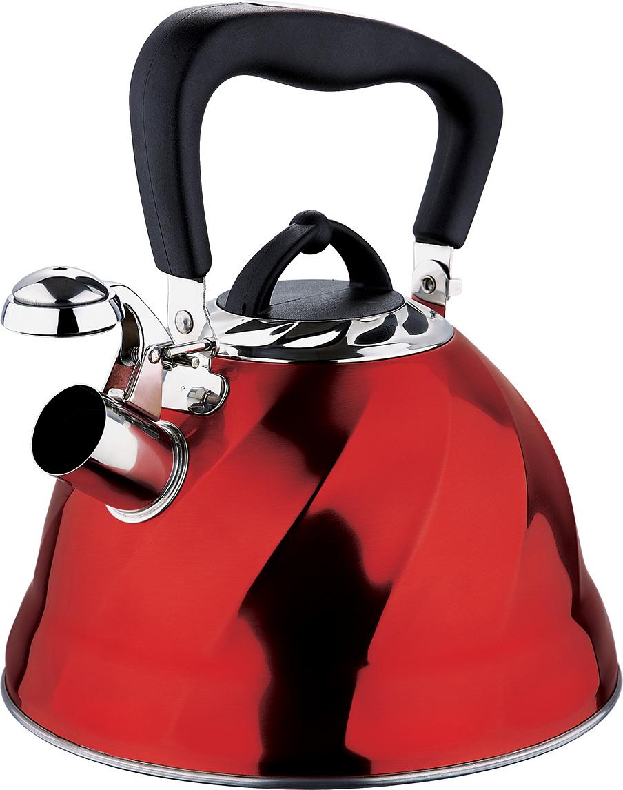 Чайник со свистком Marta, цвет: красный, 3 л. MT-3043MT-3043 красныйКорпус - Сталь 304, толщина стенок 0,4 мм, со свистком, емкость 3,0л, капсульное дно, складная ненагреваемая ручка с силиконовым покрытием, герметичная крышка