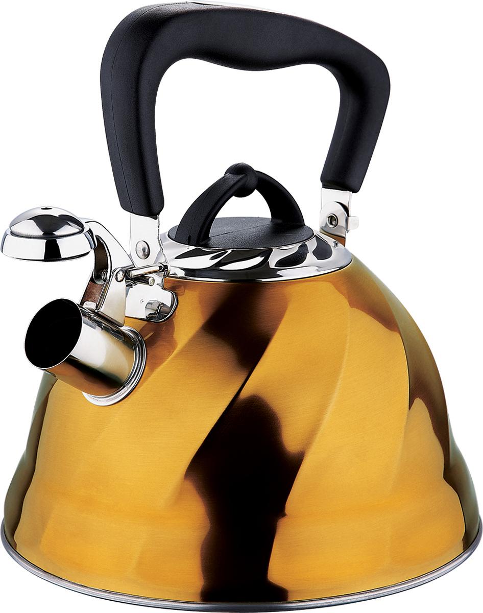 Чайник со свистком Marta, цвет: золотистый, 3 л. MT-3043MT-3043 золотоКорпус - Сталь 304, толщина стенок 0,4 мм, со свистком, емкость 3,0л, капсульное дно, складная ненагреваемая ручка с силиконовым покрытием, герметичная крышка