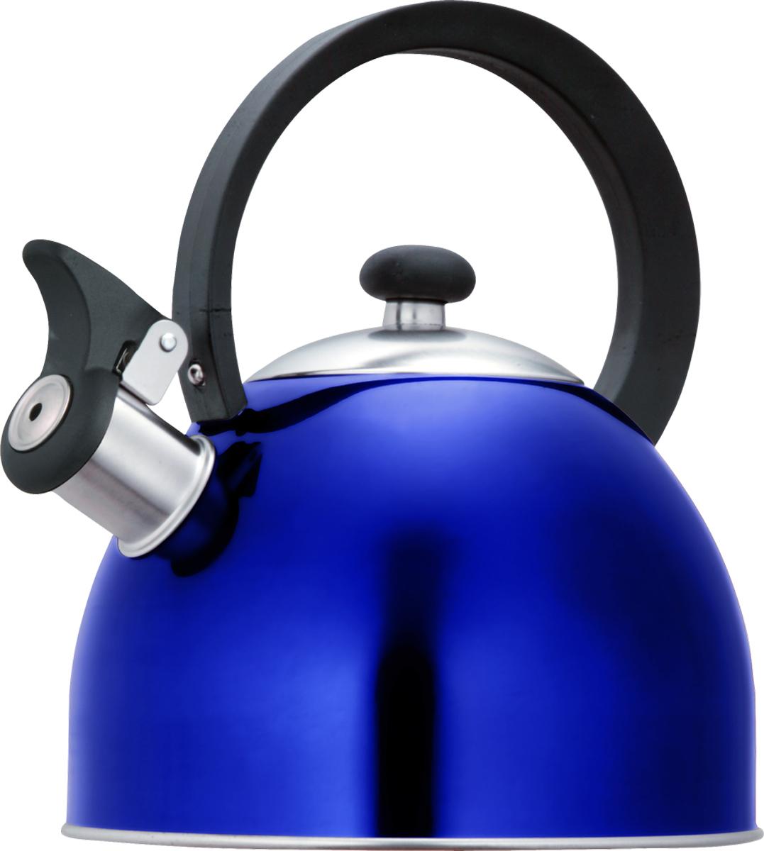 Чайник со свистком Lumme, цвет: синий, 1,8 л. LU-256LU-256 синийцветной со свистком 1,8л нержавеющая сталь, фиксированная ручка