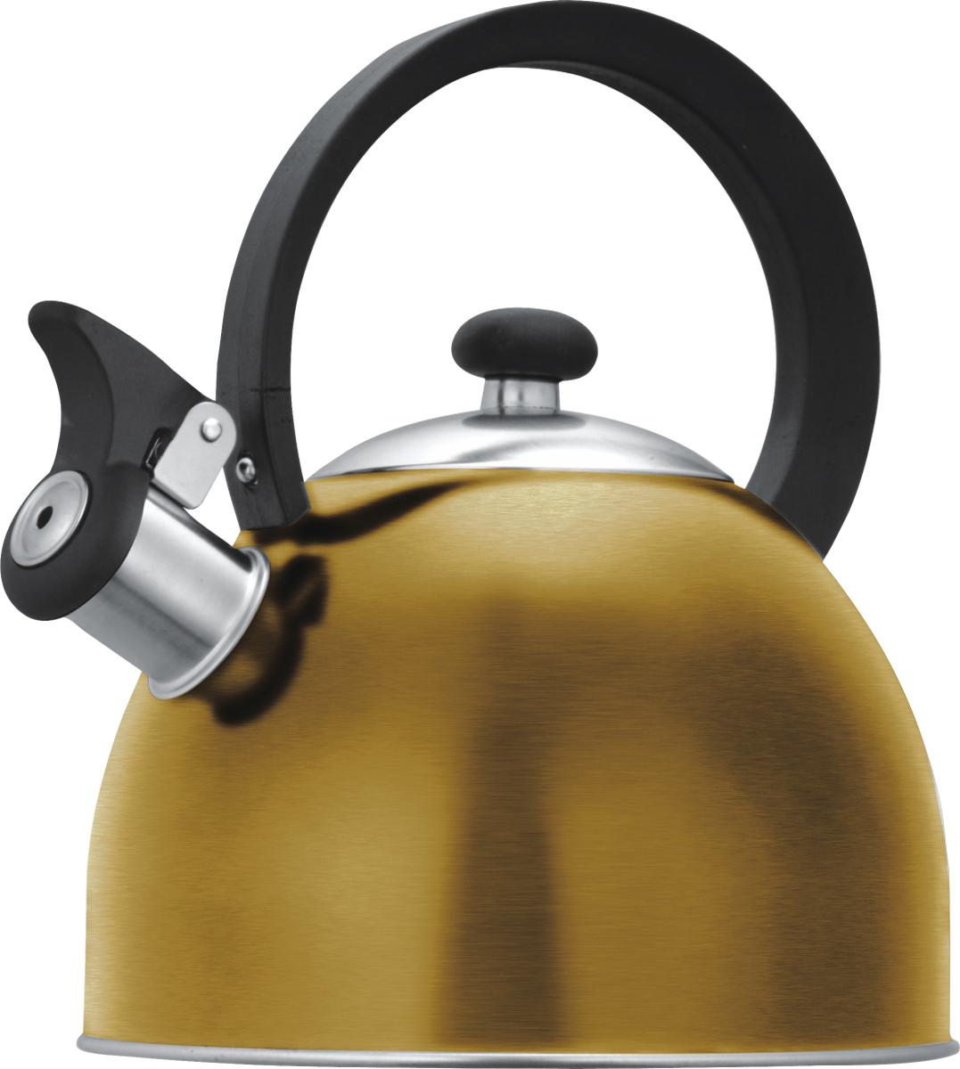 Чайник со свистком Lumme, цвет: золотистый, 1,8 л. LU-256LU-256 золотоцветной со свистком 1,8л нержавеющая сталь, фиксированная ручка