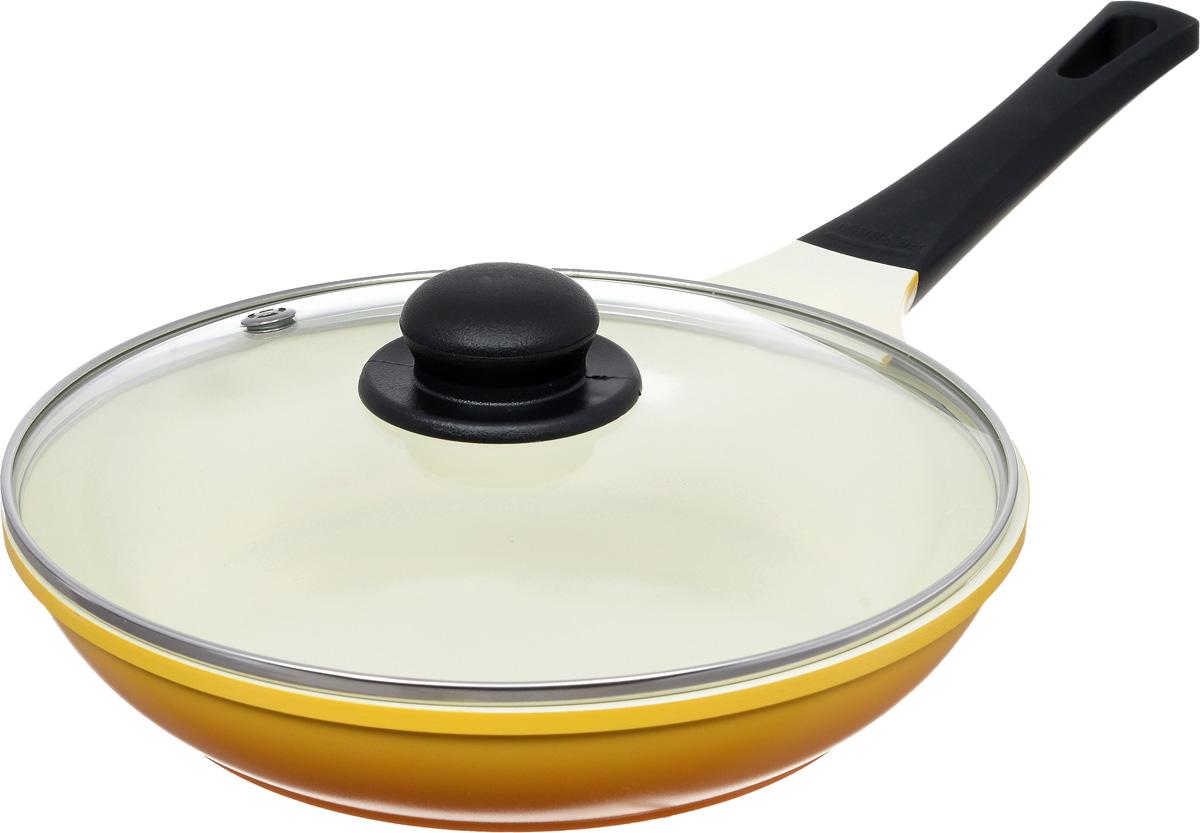 Сковорода Frybest Rainbow с крышкой, с керамическим покрытием, цвет: желтый. Диаметр 26 см. CA-F26GKCA-F26GK Rainbow_желтый, светлое внутреннее покрытиеСковорода Frybest Rainbow изготовлена по новейшей технологии из литого алюминия с керамическим антипригарным покрытием Ecolon, в производстве которого используются природные материалы безопасные для здоровья. Благодаря специальному утолщенному дну сковорода равномерно распределяет тепло. Непревзойденная прочность сковороды и устойчивость к царапинам позволяет использовать металлические аксессуары при приготовлении пищи, а эргономичная удлиненная ручка с силиконовым покрытием soft-touch имеет оригинальное технологическое крепление к телу сковороды и всегда остается холодной. Прозрачная крышка, выполненная из термостойкого стекла с клапаном для выпуска пара, позволяет следить за процессом приготовления пищи. Изделие можно использовать на газовых, электрических и стеклокерамических плитах. Не подходит для индукционных плит. Можно мыть в посудомоечной машине. Диаметр (по верхнему краю): 26 см. Высота стенки: 5,5 см. Длина ручки:...