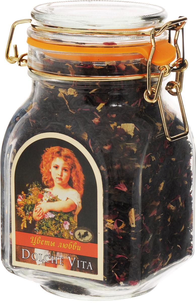 Dolche Vita Цветы любви элитный черный листовой чай, 160 г21519Чай цейлонский черный крупнолистовой с добавлением лепестков подсолнечника, василька красного, кусочков ананаса, граната, манго и банана в стеклянной банке с замком. Ароматизирован натуральным маслом саусепа. Уважаемые клиенты! Обращаем ваше внимание, что полный перечень состава продукта представлен на дополнительном изображении.