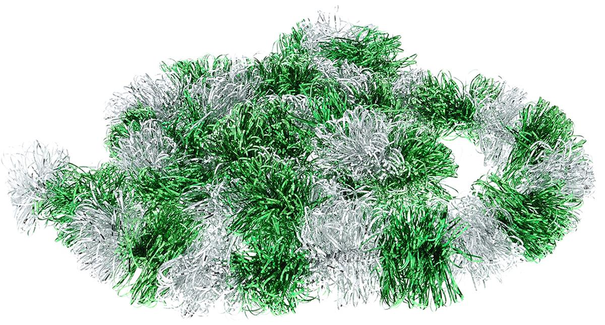 Мишура новогодняя Sima-land, цвет: серебристый, зеленый , диаметр 7 см, длина 2 м452426_зеленыйМишура новогодняя Sima-land, выполненная из двухцветной фольги, поможет вам украсить свой дом к предстоящим праздникам. Мишура армирована, то есть имеет проволоку внутри и способна сохранять приданную ей форму. Новогодняя елка с таким украшением станет еще наряднее. Новогодней мишурой можно украсить все, что угодно - елку, квартиру, дачу, офис - как внутри, так и снаружи. Можно сложить новогодние поздравления, буквы и цифры, мишурой можно украсить и дополнить гирлянды, можно выделить дверные колонны, оплести дверные проемы. Коллекция декоративных украшений из серии Зимнее волшебство принесет в ваш дом ни с чем не сравнимое ощущение праздника! Создайте в своем доме атмосферу тепла, веселья и радости, украшая его всей семьей.