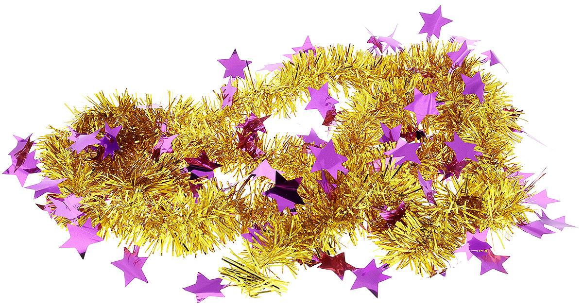 Мишура новогодняя B&H Звездочки, цвет: золотой, фиолетовый, 2 мBH1050_Звездочки_золотой, фиолетовыйМишура новогодняя B&H Звездочки, выполненная из ПВХ, поможет вам украсить свой дом к предстоящим праздникам. Новогодняя елка с таким украшением станет еще наряднее. Новогодней мишурой можно украсить все, что угодно - елку, квартиру, дачу, офис - как внутри, так и снаружи. Можно сложить новогодние поздравления, буквы и цифры, мишурой можно украсить и дополнить гирлянды, можно выделить дверные колонны, оплести дверные проемы.