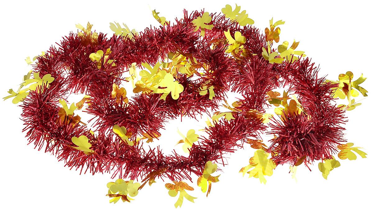 Мишура новогодняя B&H Бантики, цвет: красный, золотистый, 2 мBH1050_Бантики_красный, золотистыйМишура новогодняя B&H Бантики, выполненная из ПВХ, поможет вам украсить свой дом к предстоящим праздникам. Новогодняя елка с таким украшением станет еще наряднее. Новогодней мишурой можно украсить все, что угодно - елку, квартиру, дачу, офис - как внутри, так и снаружи. Можно сложить новогодние поздравления, буквы и цифры, мишурой можно украсить и дополнить гирлянды, можно выделить дверные колонны, оплести дверные проемы.