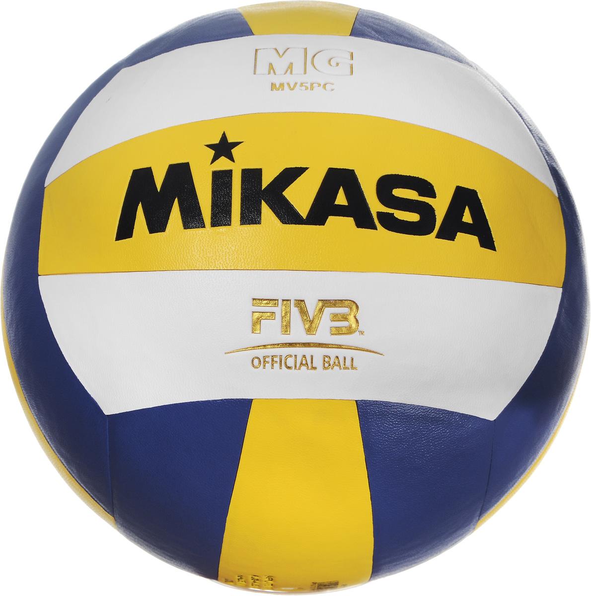 """Мяч волейбольный Mikasa """"SKV5"""", цвет: синий, белый, желтый. Размер 5 УТ-00001287_синий,белый,желтый"""
