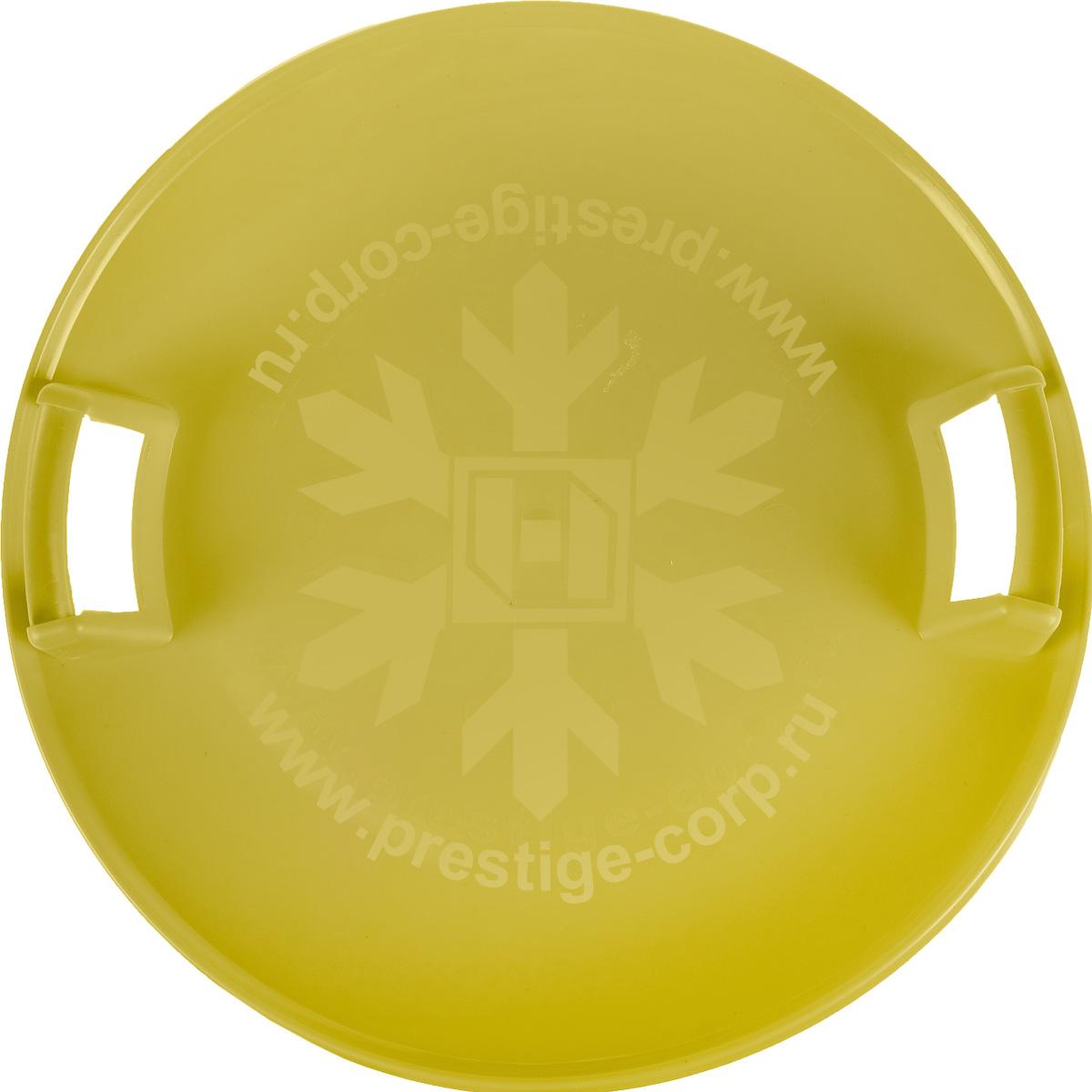 Санки-ледянки Престиж Экстрим, с ручками, цвет: желтый, диаметр 59 см336915Любимая детская зимняя забава - это катание с горки. Яркие санки-ледянки Престиж Экстрим станут незаменимым атрибутом этой веселой детской игры. Санки-ледянки Престиж Экстрим - это специальная пластиковая тарелка, облегчающая скольжение и увеличивающая скорость движения по горке. Круглая ледянка выполнена из прочного морозоустойчивого пластика и снабжена двумя удобными ручками, чтобы катание вашего ребенка было безопасным. Отличная скорость, прочный материал и спуск, который можно закончить сидя спиной к низу горки - вот что может предоставить это изделие! Благодаря малому весу, ледянку, в отличие от обычных санок, легко нести с собой даже ребенку.