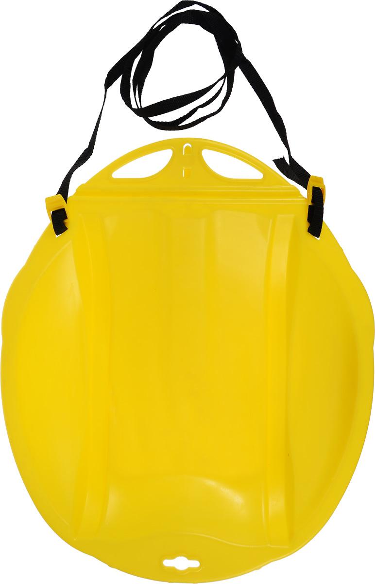 """Санки-ледянки Цикл """"Веселый паровозик"""", с ремнем, цвет: желтый, 49 х 42 см"""