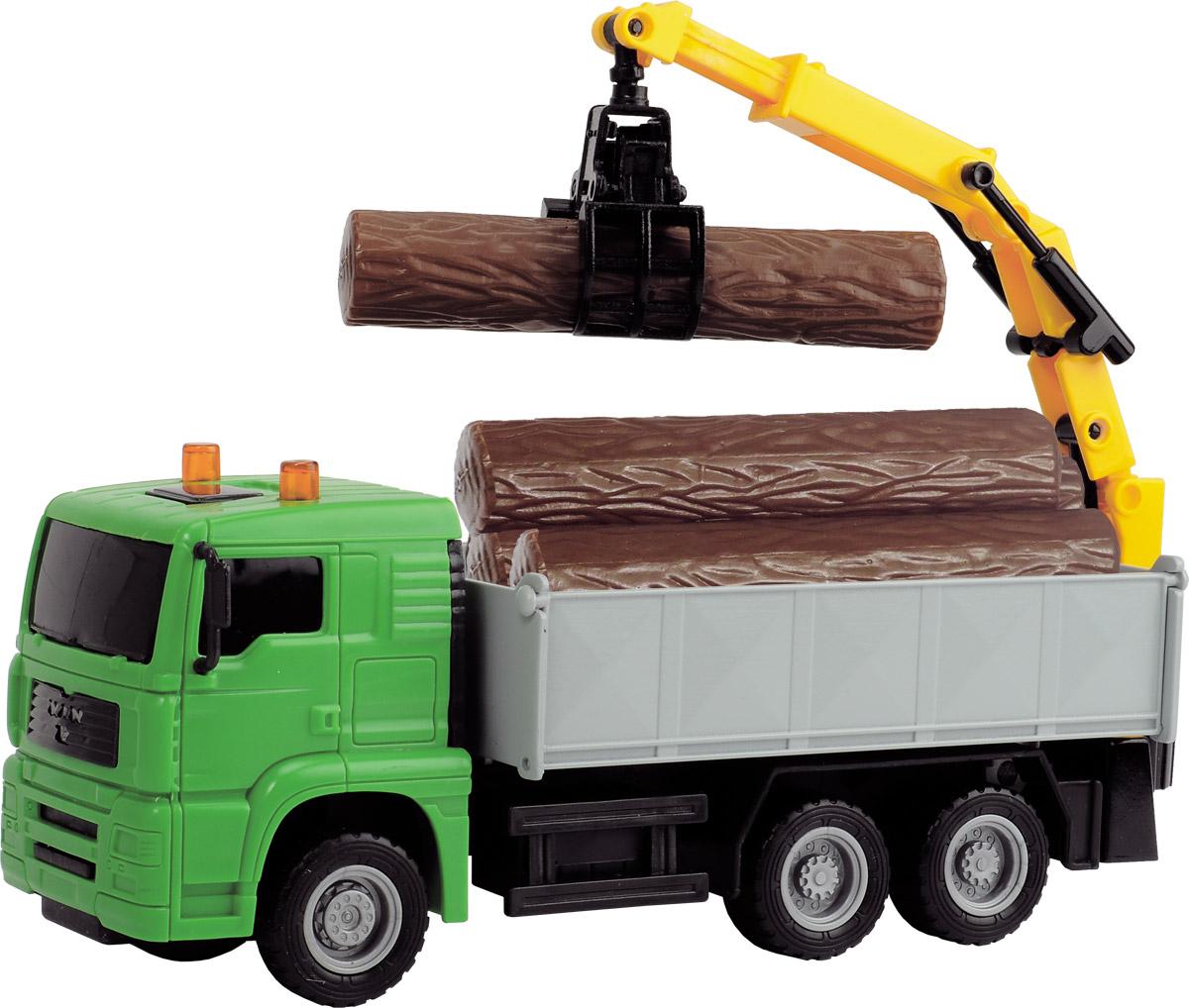Dickie Toys Автокран Heavy City Truck цвет зеленый3744003_зеленый, 203744003 SIRАвтокран Dickie Toys - интересная машина для ребенка, который увлекается игровой спецтехникой. Машина имеет фрикционный ход движения и поворотную башню крана. Большие ребристые колеса имеют хорошее сцепление с любой поверхностью. Стрела крана раздвигается, а ковш может захватывать груз. В комплекте: дорожные знаки и груз в виде бревен. Играя с такой машинкой ребенок развивает фантазию, пространственное мышление и адаптируется через игру к окружающему миру.