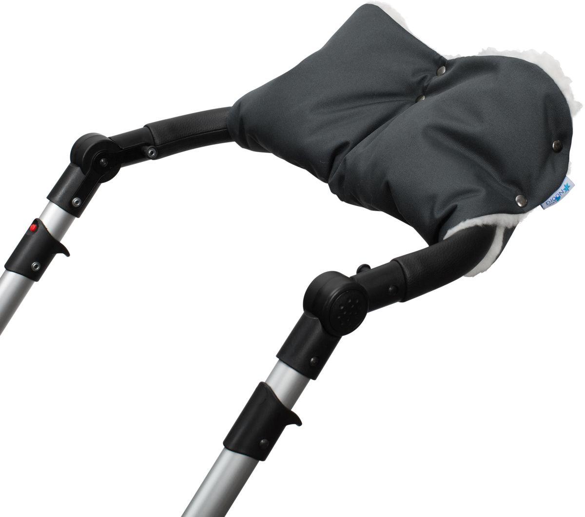 Noordline Муфта для рук на коляску цвет темно-серыйMU-DGМуфта изготовлена из набивной овчины на ткани. Верх муфты из водонепроницаемой ткани. Наполнитель: 30% овчина, 70% Холлофайбер. Крепиться на коляску с помощью кнопок. Размеры: ширина 25 см, длина 51 см (без подгиба)