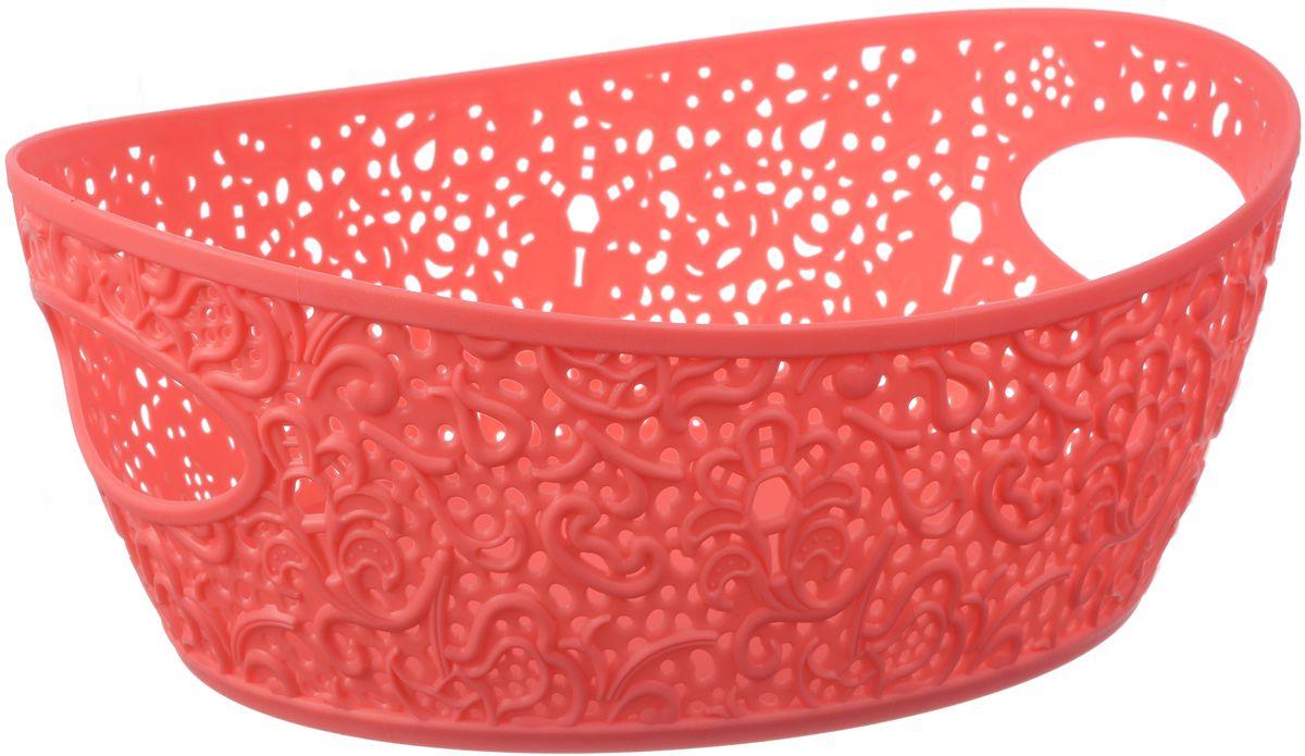 Корзинка Idea Кружево, цвет: коралловый, 19,5 х 26 х 40 см, 2,5 л. М 2378М 2378