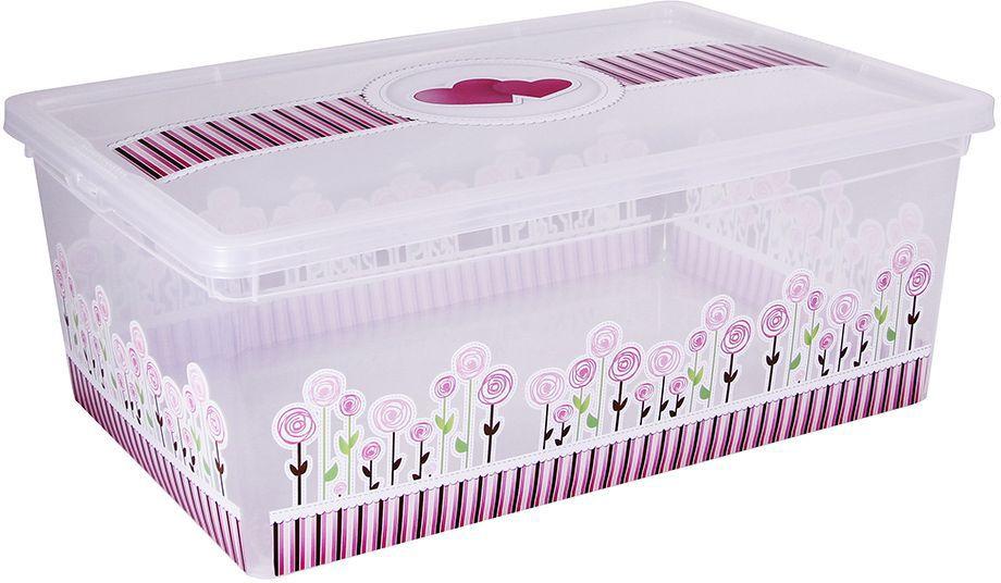 "Ящик для хранения Idea ""Деко. Цветы"", 25 х 37 х 14 см, Idea (М-пластика)"