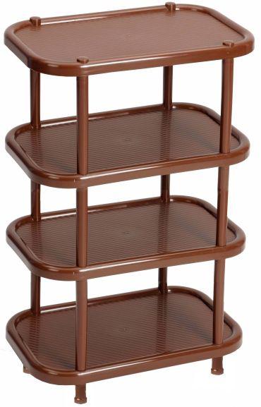 Этажерка для обуви Idea, 4-секционная, цвет: коричневый, 30,7 х 49,2 х 53 смМ 2717Этажерка Idea с 4 полками выполнена из высококачественного пластика и предназначена для хранения обуви в прихожей. На каждой полке можно разместить по две пары обуви. Очень удобная и компактная, но в тоже время вместительная, этажерка прекрасно впишется в пространство вашей прихожей. Легко собирается и разбирается.
