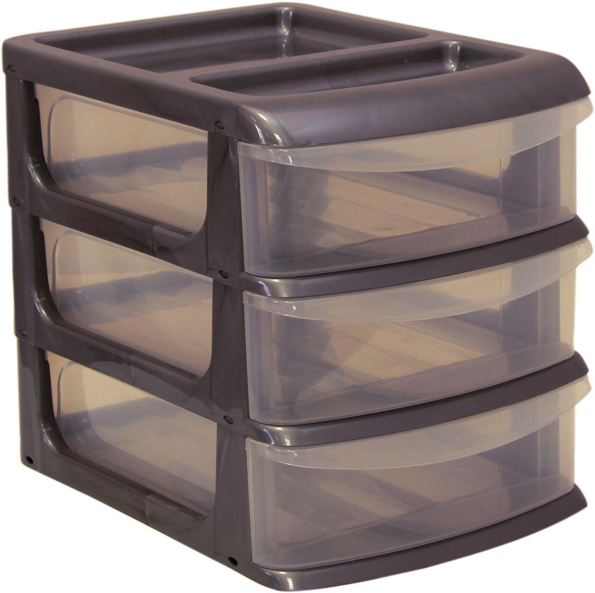 Бокс универсальный Idea, цвет: металлик, 25 х 34 х 28 см, 3 секцииМ 2767Универсальный бокс Idea выполнен из высококачественного пластика и имеет три удобные выдвижные секции. Бокс предназначен для хранения предметов шитья, рукоделия, хобби и всех необходимых мелочей. Изделие позволит компактно хранить вещи, поддерживая порядок и уют в вашем доме. Размер секции: 25 х 32 х 7 см.