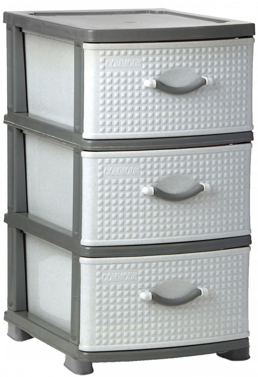 Комод Idea Классик, цвет: серый мрамор, 37,5 х 48 х 47,5 см, 3 секции. М 2783М 2783