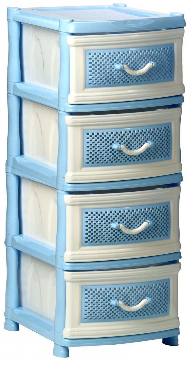 Комод Idea Фиджи, цвет: голубой, белый, 40,5 х 50,5 х 48,5 см, 4 секцииМ 2790Комод Idea Фиджи изготовлен из высококачественного пластика. Комод предназначен для хранения различных вещей и состоит из 4 вместительных выдвижных секций. Такой необычный комод надежно защитит вещи от загрязнений, пыли и моли, а также позволит вам хранить их компактно и с удобством. Размер комода: 40,5 х 50,5 х 48,5 см.