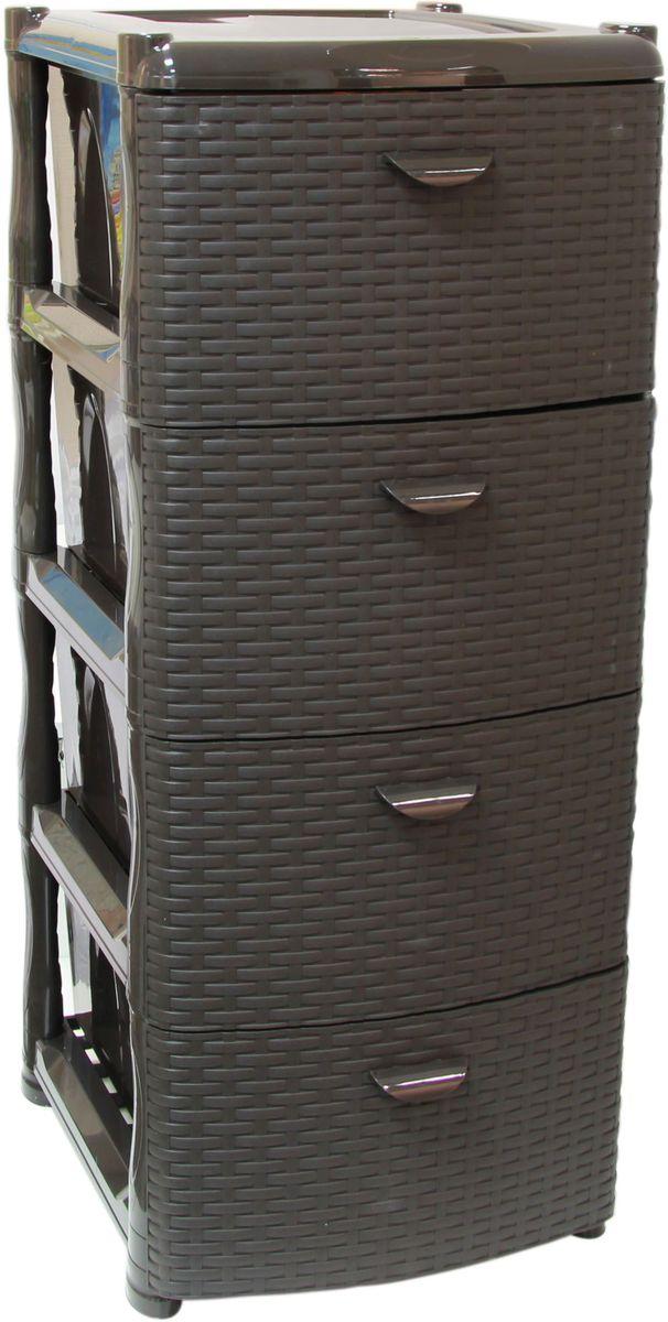 Комод Idea «Ротанг», цвет: коричневый ротанг, 48,5 х 46 х 40,5 см, 4 секции  тумбочка на заказ по индивидуальным размерам недорого