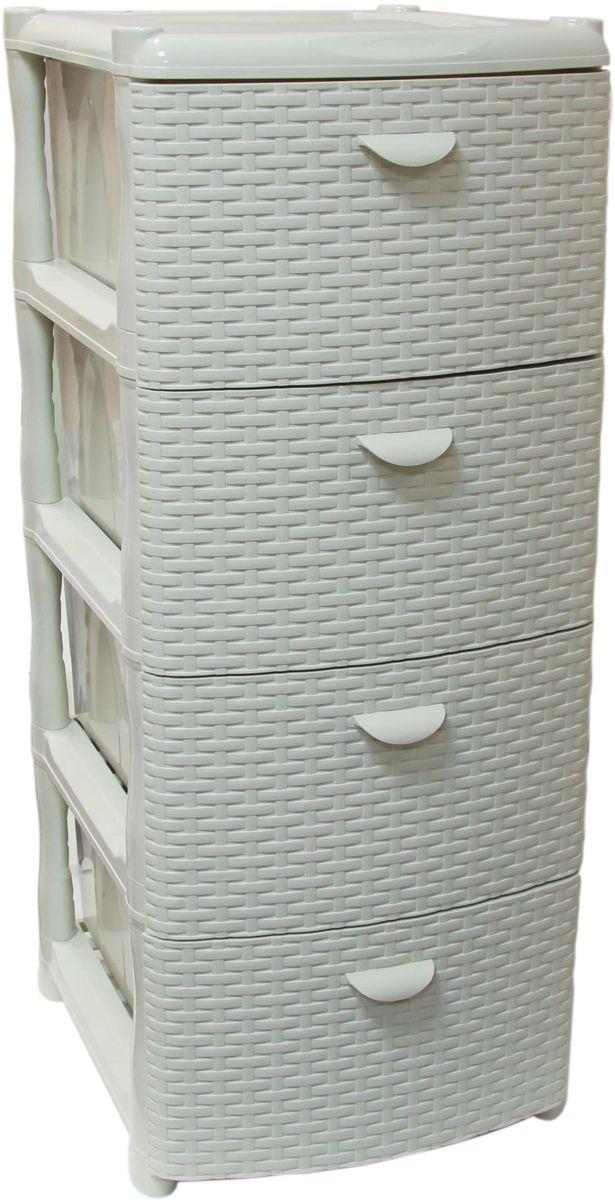 Комод Idea «Ротанг», цвет: белый ротанг, 48,5 х 46 х 40,5 см, 4 секции  купить дешево тумбу для обуви