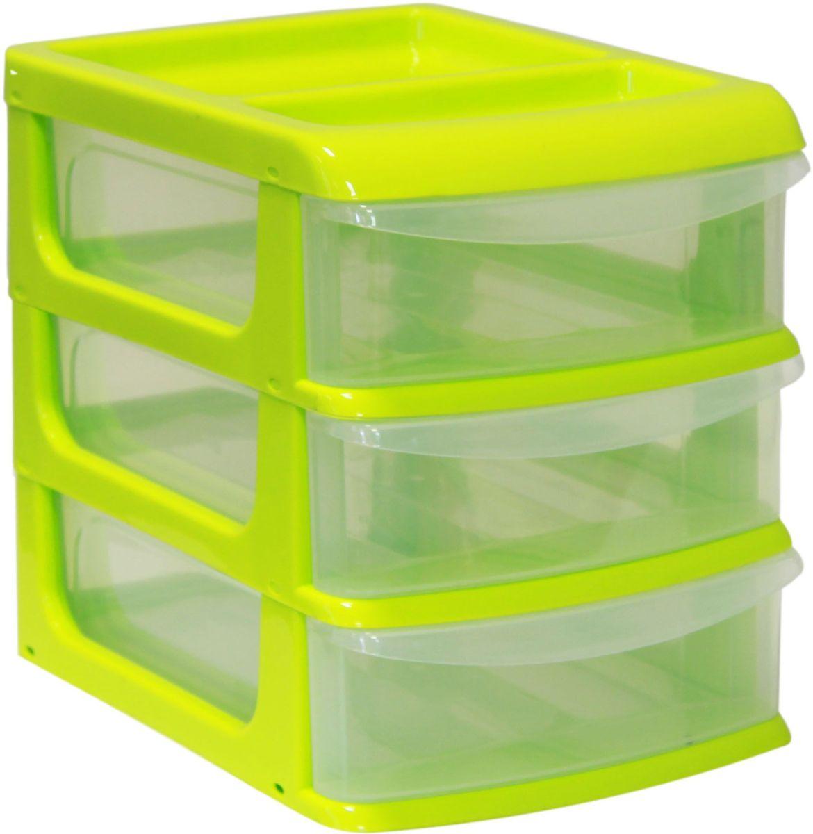 Бокс универсальный Idea, цвет: салатовый, прозрачный, 25 х 34 х 28 см, 3 секцииМ 2767_салатовый, прозрачныйУниверсальный бокс Idea выполнен из высококачественного пластика и имеет три удобные выдвижные секции. Бокс предназначен для хранения предметов шитья, рукоделия, хобби и всех необходимых мелочей. Изделие позволит компактно хранить вещи, поддерживая порядок и уют в вашем доме. Размер секции: 25 х 32 х 7 см.