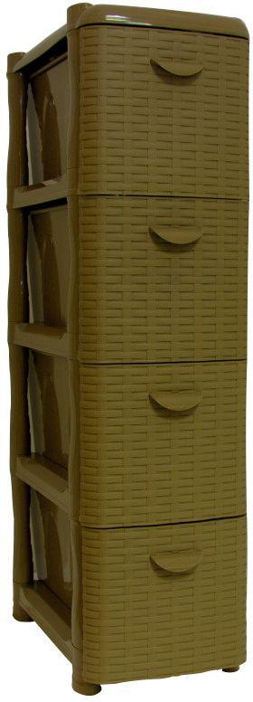 Комод Idea Ротанг, цвет: бежевый ротанг, 26,2 х 50,2 х 48 см, 4 секцииМ 2814Комод Idea Ротанг изготовлен из высококачественного пластика. Ящики оформлены изображением плетеных элементов. Комод предназначен для хранения различных вещей и состоит из 4 вместительных выдвижных секций. Такой необычный и яркий комод надежно защитит вещи от загрязнений, пыли и моли, а также позволит вам хранить их компактно и с удобством. Размер комода: 26,2 х 50,2 х 48 см.