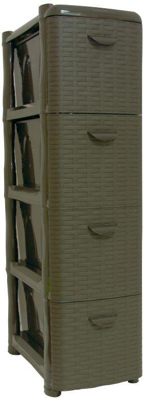 Комод Idea Ротанг, цвет: коричневый ротанг, 26,2 х 50,2 х 48 см, 4 секции. М 2814М 2814