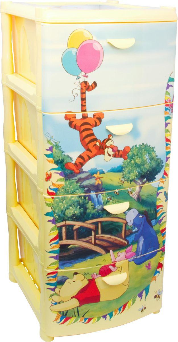 Комод «Disney», цвет: банановый, 40,5 х 48,5 х 46 см, 4 секции. М 2805-Д  пеленальный комод островок уюта