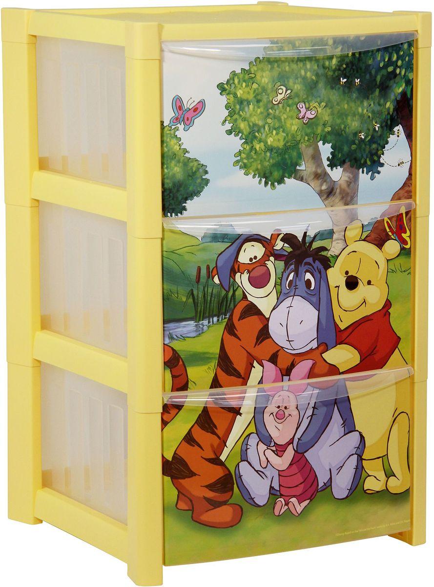 Комод Disney, цвет: банановый, 36,3 х 37,8 х 59,3 см, 3 секции. М 2791-ДМ 2791-Д