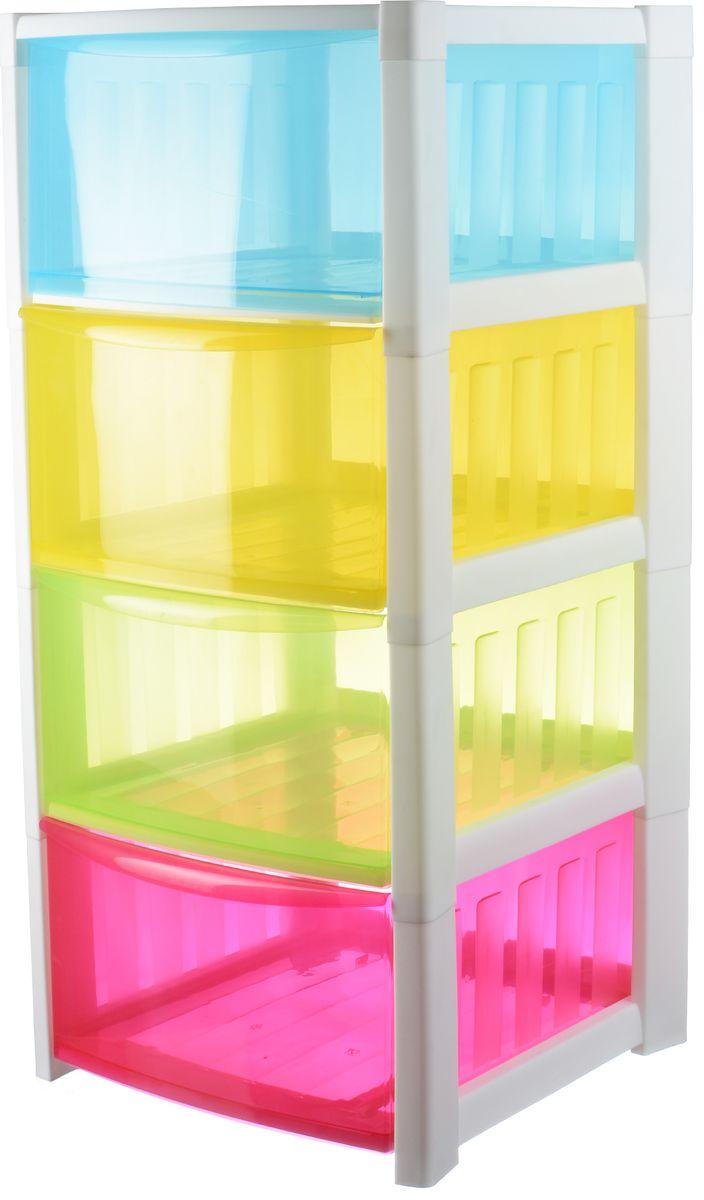 Комод Idea «Радуга», цвет: разноцветный, 36 х 37 х 77,3 см, 4 секции. М 2794  стулья пуфики своими руками