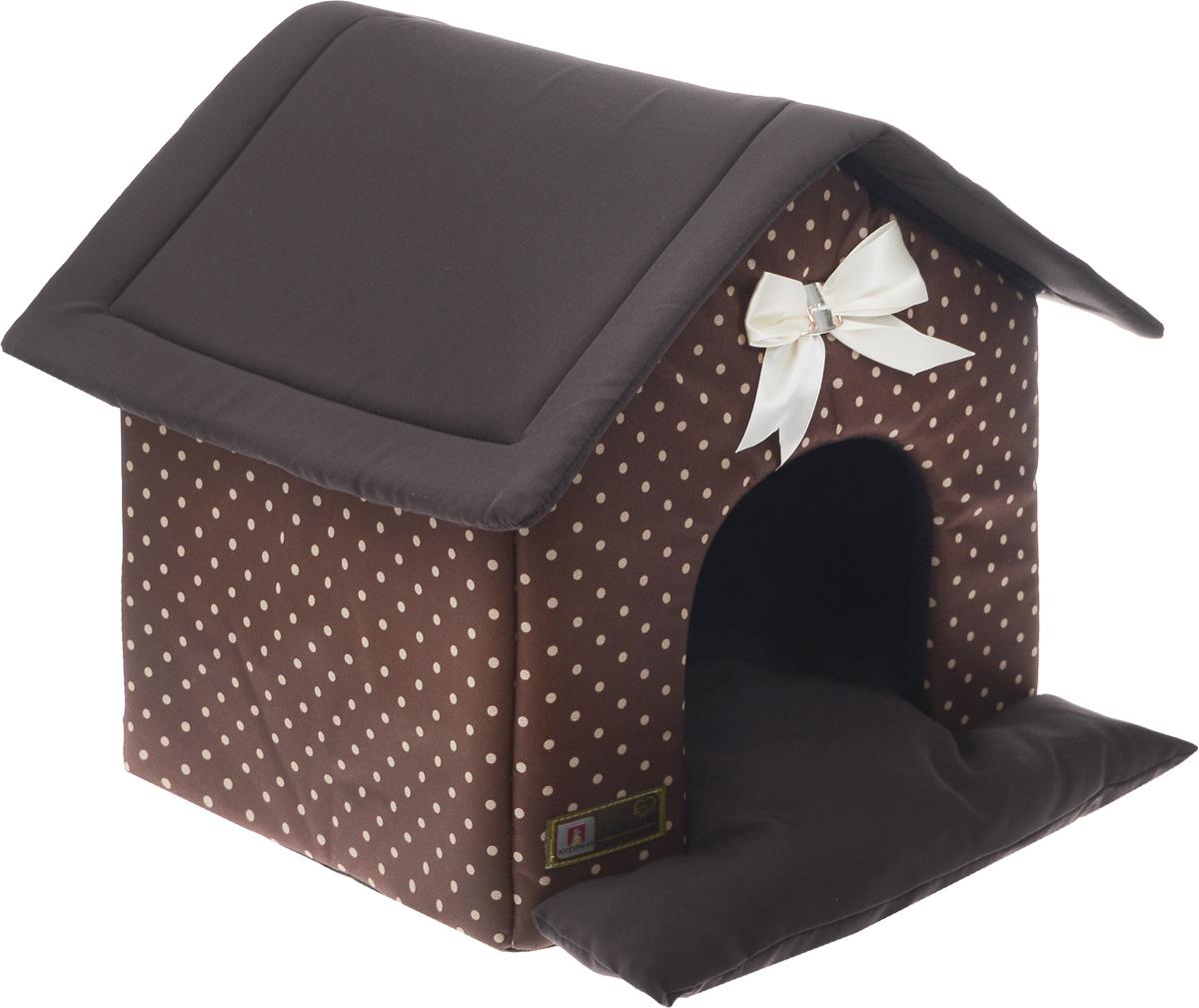 Лежак для собак и кошек Зоогурман Ампир. Горох, 45 х 40 х 45 см2137_шоколадный, бежевый горохМягкий и уютный лежак для кошек и собак Зоогурман Ампир. Горох обязательно понравится вашему питомцу. Лежак выполнен из плотного, приятного материала. Внутри - мягкий наполнитель, который не теряет своей формы долгое время. Лежак представляет собой домик со съемной крышей и съемным внутренним матрасиком. Над главным входом красивый бант. Закрытый лежак в виде домика обеспечит вашему любимцу уют и комфорт. За изделием легко ухаживать, можно стирать вручную или в стиральной машине при температуре 40°С. Внутренний размер лежака (ДхШхВ): 34 х 40 х 40 см.