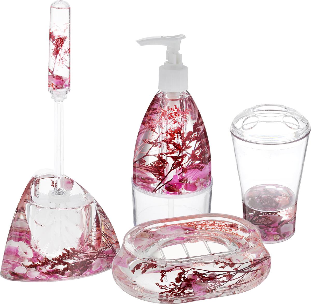 Набор для ванной комнаты Mayer & Boch Ракушка, цвет белый, розовый, 5 предметов8647_белый/розовыйНабор для ванной комнаты Mayer & Boch Ракушка состоит из диспенсера для жидкого мыла, стакана для 4 зубных щеток и зубной пасты, мыльницы и ершика на подставке. Предметы набора выполнены из высококачественного прозрачного пластика. Внутри гелевый наполнитель с морскими ракушками и кораллами. Аксессуары, входящие в набор Mayer & Boch Ракушка, выполняют не только практическую, но и декоративную функцию. Они способны внести в помещение изысканность, сделать пребывание в ванне приятным и даже незабываемым. Диаметр стакана (по верхнему краю): 8 см. Высота стакана (без учета крышки): 12 см. Размер диспенсера: 7,5 х 7,5 х 18,5 см. Объем диспенсера: 200 мл. Размер мыльницы: 13 х 9,5 х 3 см. Длина ершика: 32,5 см. Размер рабочей поверхности ершика: 6,5 х 6,5 х 8 см. Размер подставки для ершика: 17 х 12,3 х 10,5 см.